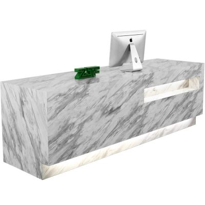 Carrara marble texture LED modern reception desk white