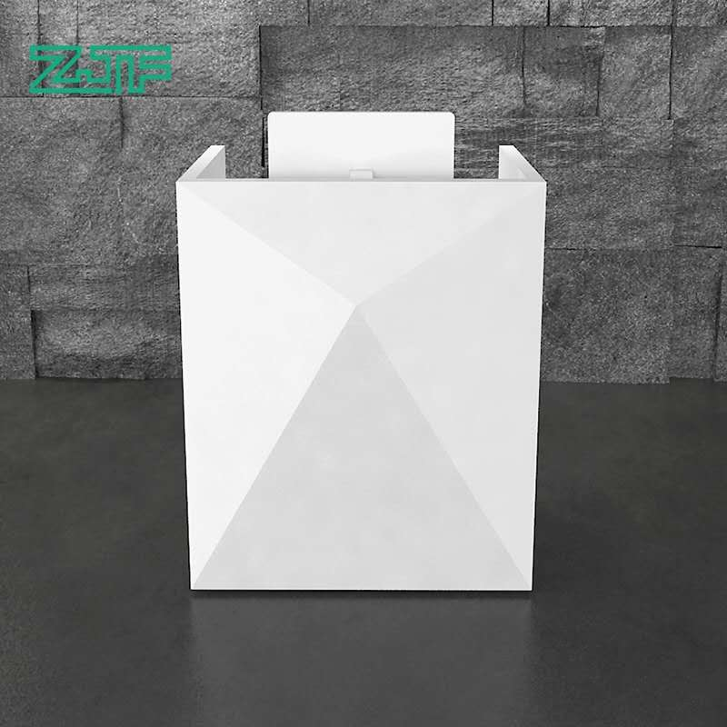 Boutique pure white small modern reception desk