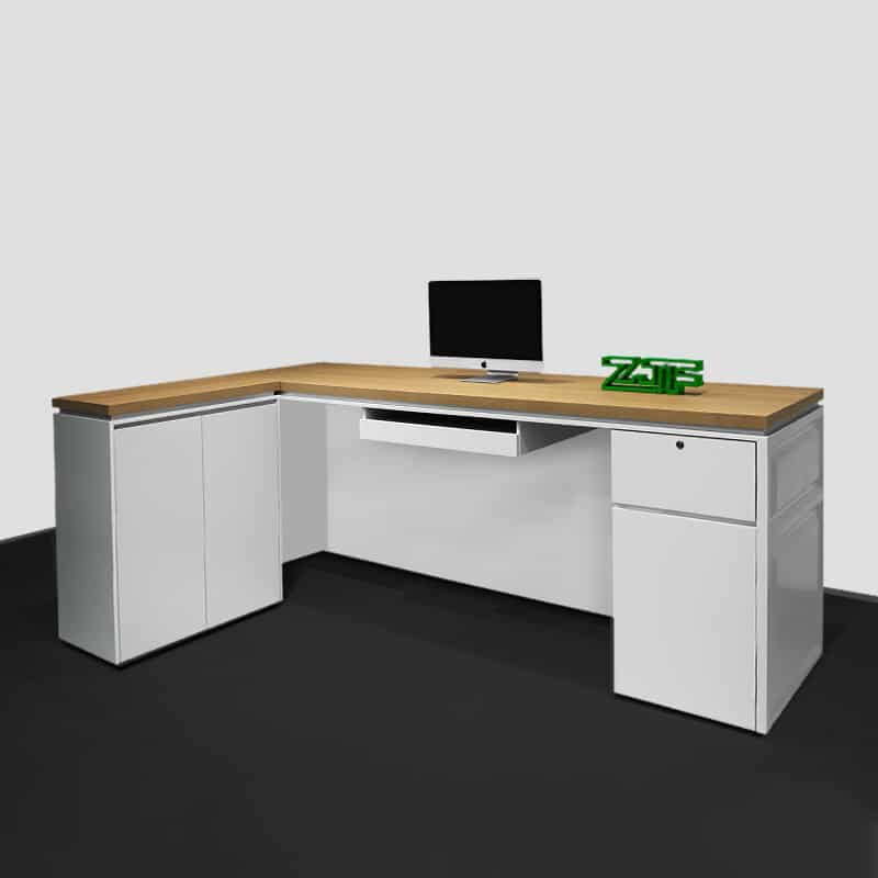 Wood L shaped office receptionist desks modern