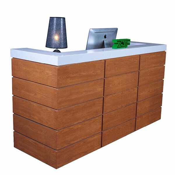 Orange paint hair salon wooden modern front desk