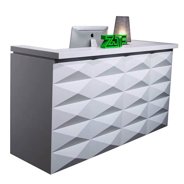 Matt white wooden modern office reception desk