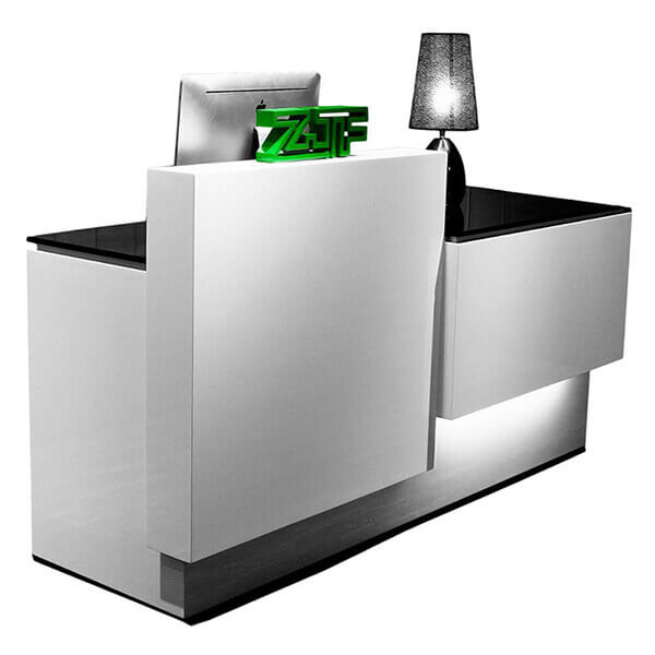 Solid surface i shaped LED salon reception desks