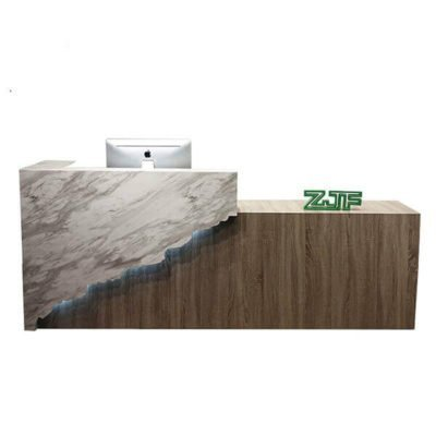 Irregular marble LED modern beauty salon reception desk
