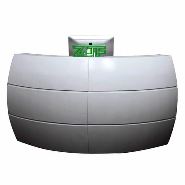 Pure white salon used modern curved reception desk
