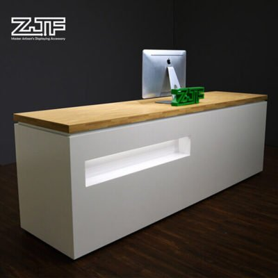 Wooden LED salon modern reception desk furniture