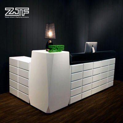L shaped white salon modern reception desks