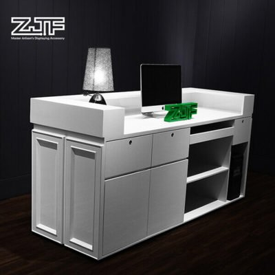 Beauty salons wooden u shaped white reception desk