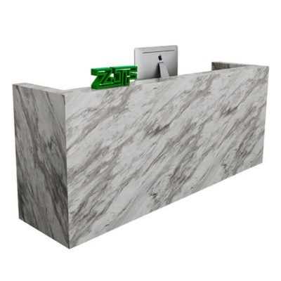 Dark marble color U shaped reception desk salon