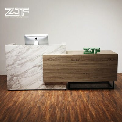 12ft carrara marble color modern salons reception desk