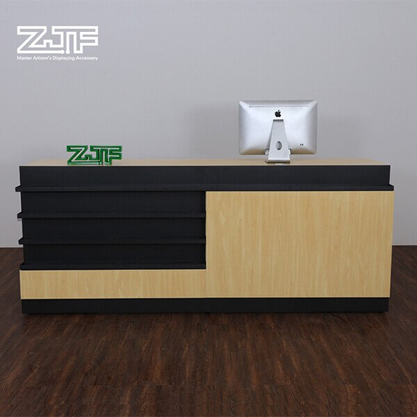 Multi shelves solid wood modern reception desk for sale
