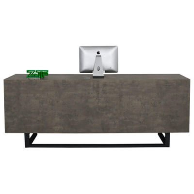 Cement grey wooden small reception desk salon