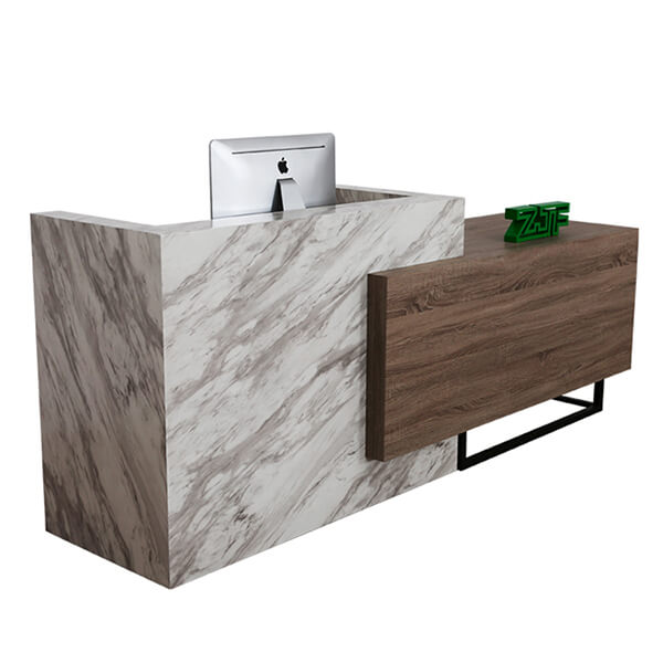 Imitation carrara white marble reception desk