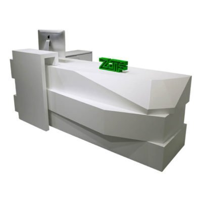Reception area diamond L shaped white modern reception desk