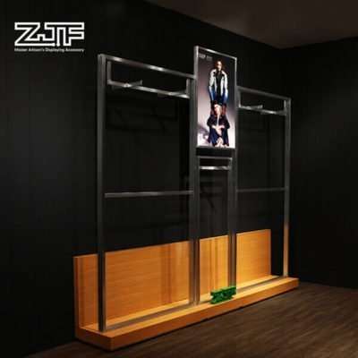 Stainless steel frame freestanding MDF garment display rack
