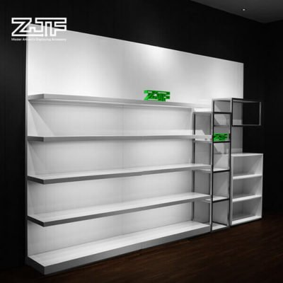Luxury wood women bags shelves LED shoes display wall