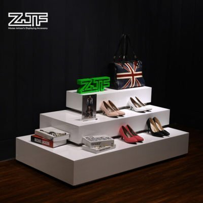 Shopping center stair white wood retail shoes displays