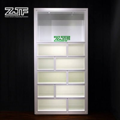 Pure white MDF multispaces shoes display fixture with LED