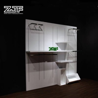 Retail garment shop wooden white clothing rack