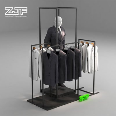 Single or double rails iron clothing rack combinations