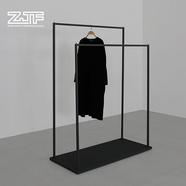 Black iron X shaped business clothes suit display rack