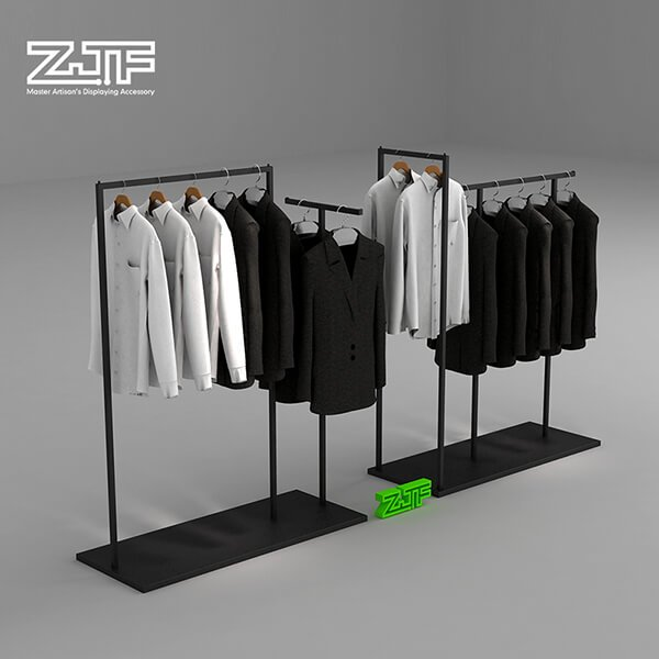 Iron single rail and two way clothes rack combination