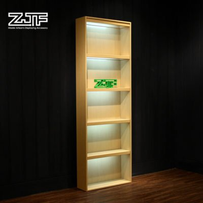 High LED light wooden cell phone case display rack