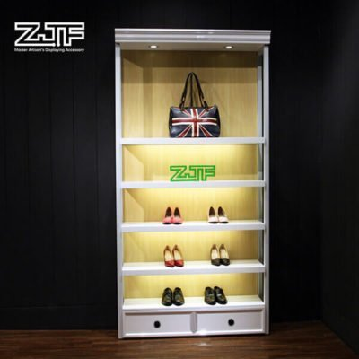Wall mount store used LED retail shoes shelves