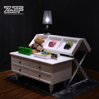 Children wood white shoes display stands for shop