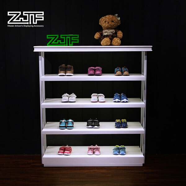 LED light white paint wood ladies shoes display