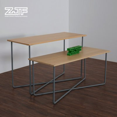 Foldable pure white wooden clothing display table