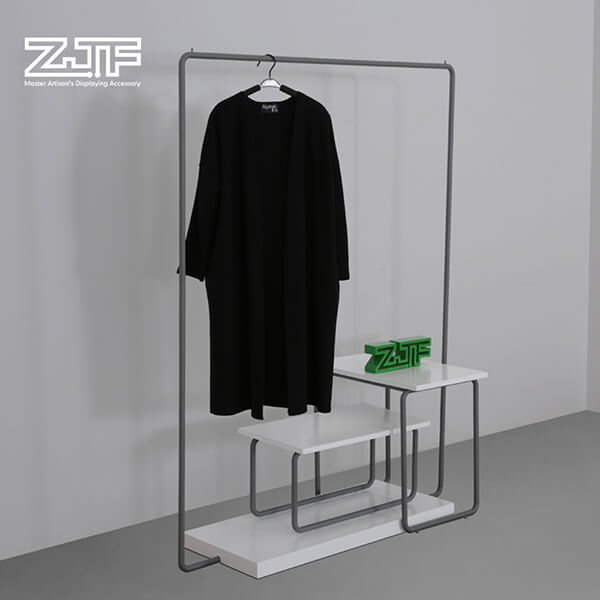 Single rail clothes rack with wood shoes stand