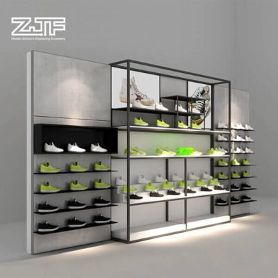 Wood wall mounted shoes shelves shop sneaker display