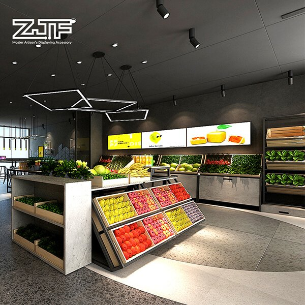 Fruit and vegetable store interior wood furniture design