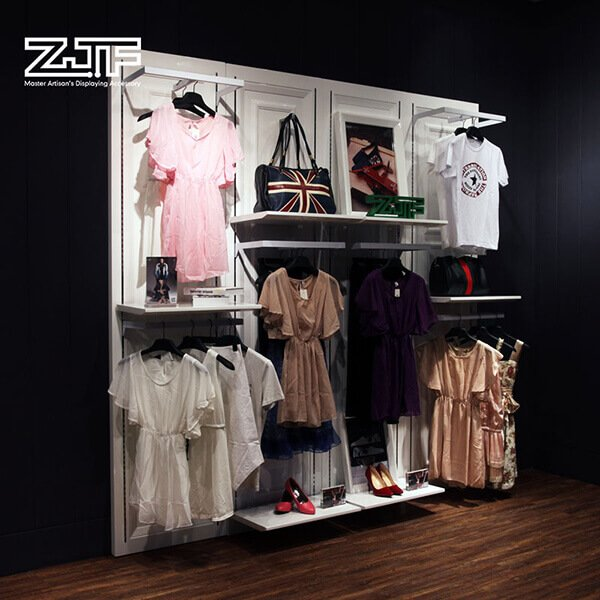 Clothing shop wooden t-shirt clothes rack with shelves