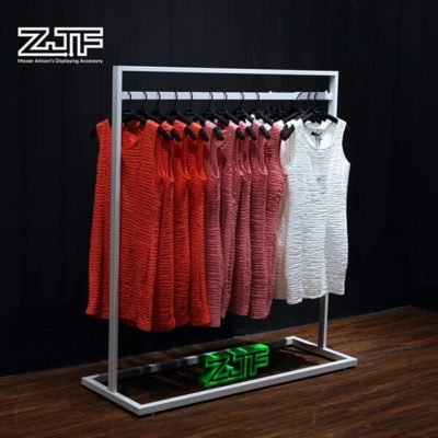 Sliver double rails lady clothes movable display rack