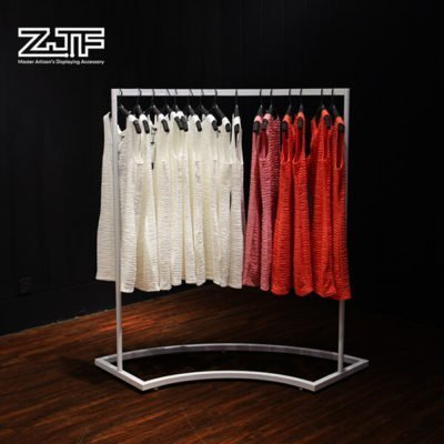 Half round white rail women clothing rack