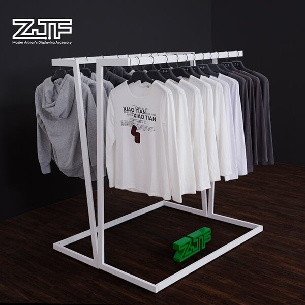 Double sides white V shaped jeans and t-shirt rack