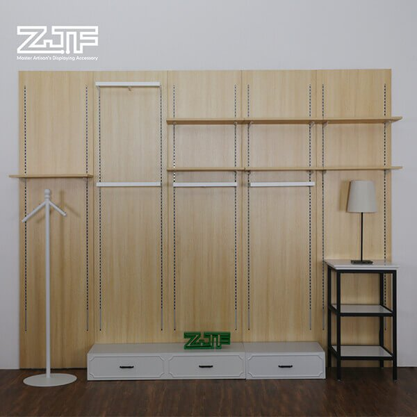 White wall mounted wooden portable clothes rack