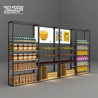Supermarket storage food wine snacks high rack