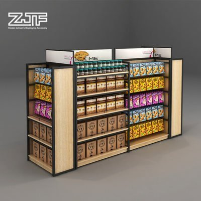 Grocery store used gondola snacks display shelves