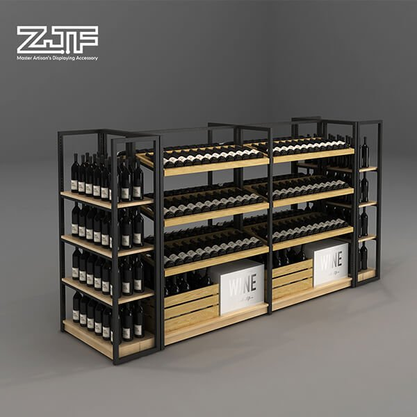 Four tiers pub wine rack with metal frame