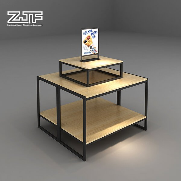 Double layers bread milk wooden display table