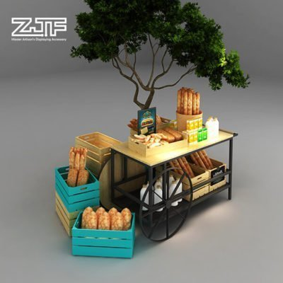 Wood basket storage wine food with wheel
