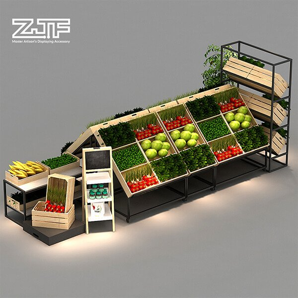 Vegetable store used double sides storage goods rack