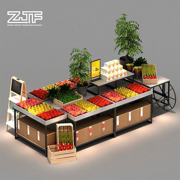Light duty store fruit and vegetable rack combination