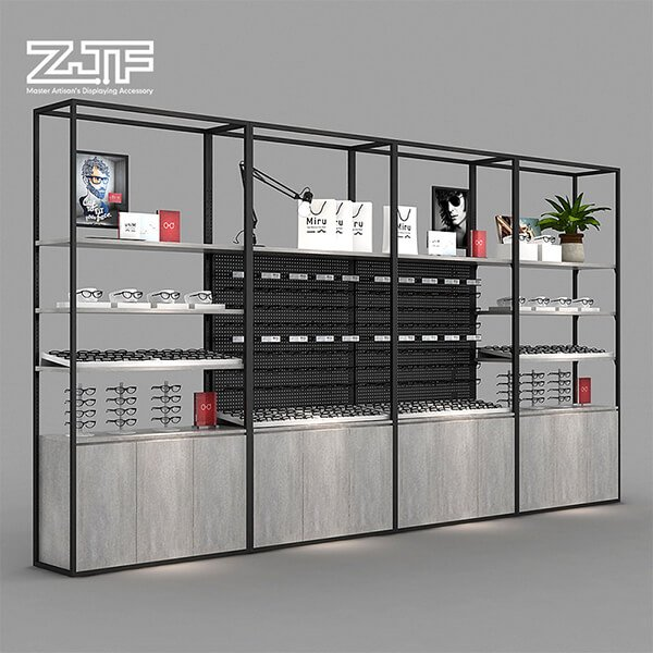 Sunglasses store fixture multi layers rack with cabinet