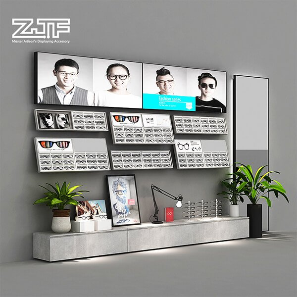 Wall mounted glasses display stand for optical store