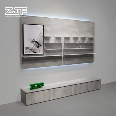Flooring wall mounted glasses display stand with LED
