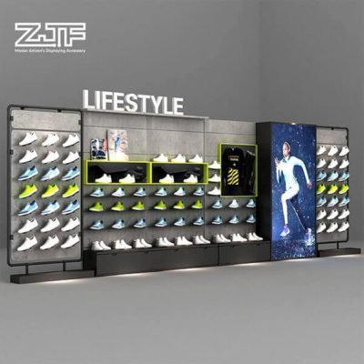 Shoes shop interior design wooden sneaker shelves