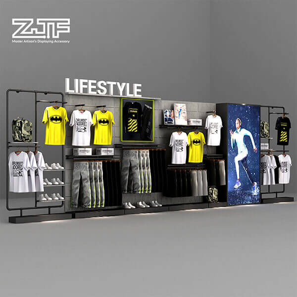 Sports store wooden clothes and shoes rack ideas